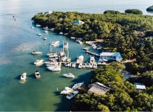 Aerial view of Cabbage Key Inn