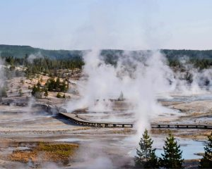 Steaming geysers at Yellowstone National Park, one of the parks the National Parks Annual Pass gets you into