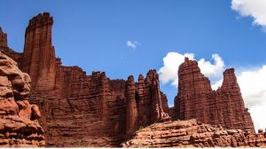 Rock formations on Fisher Towers Trail, one of the best hikes in Moab