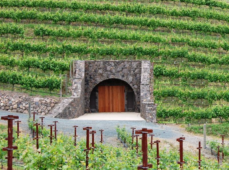The entrance to the wine cave at Porter Family Vineyards, one of the most romantic wineries in Napa