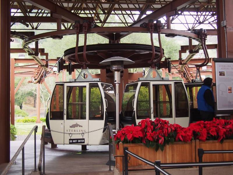 Two cars from the Sterling Vineyards aerial tram