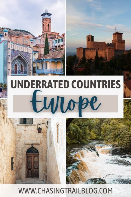 "A city in Georgia; a castle on a cliff in San Marino; waterfalls in Wales; an alley and door in Malta, and the words, ""Underrated countries Europe"""