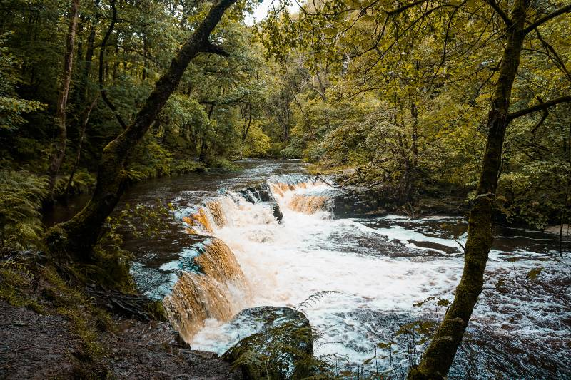 A waterfall in Brecon Beacons National Park in Wales, one of the most underrated countries in Europe
