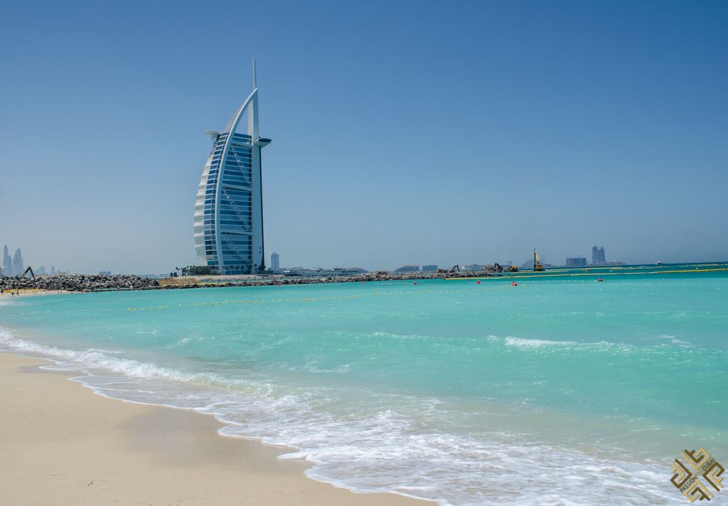 The sea and the Burj Al Arab Hotel in Dubai, one of the world's most underrated countries to visit