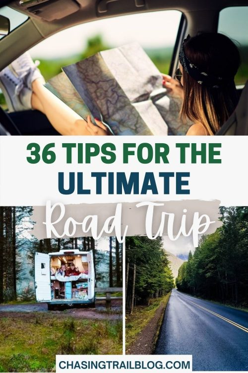 "A grid image with a woman looking at a paper map, a campervan in the forest, and an open road in the mountains with the words ""36 tips for the ultimate road trip"""