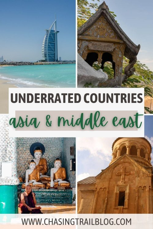 """A photo collage including a hotel in Dubai and the ocean, a pagoda in Laos, a mosque in Armenia, a Tibetan monk and sculptures in Myanmar, and the words """"Underrated countries Asia & Middle East"""""""