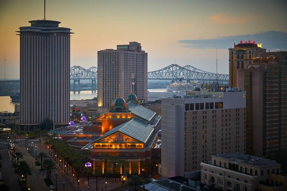 The view of the New Orleans skyline and Mississippi River from inside a guestroom at New Orleans Marriott