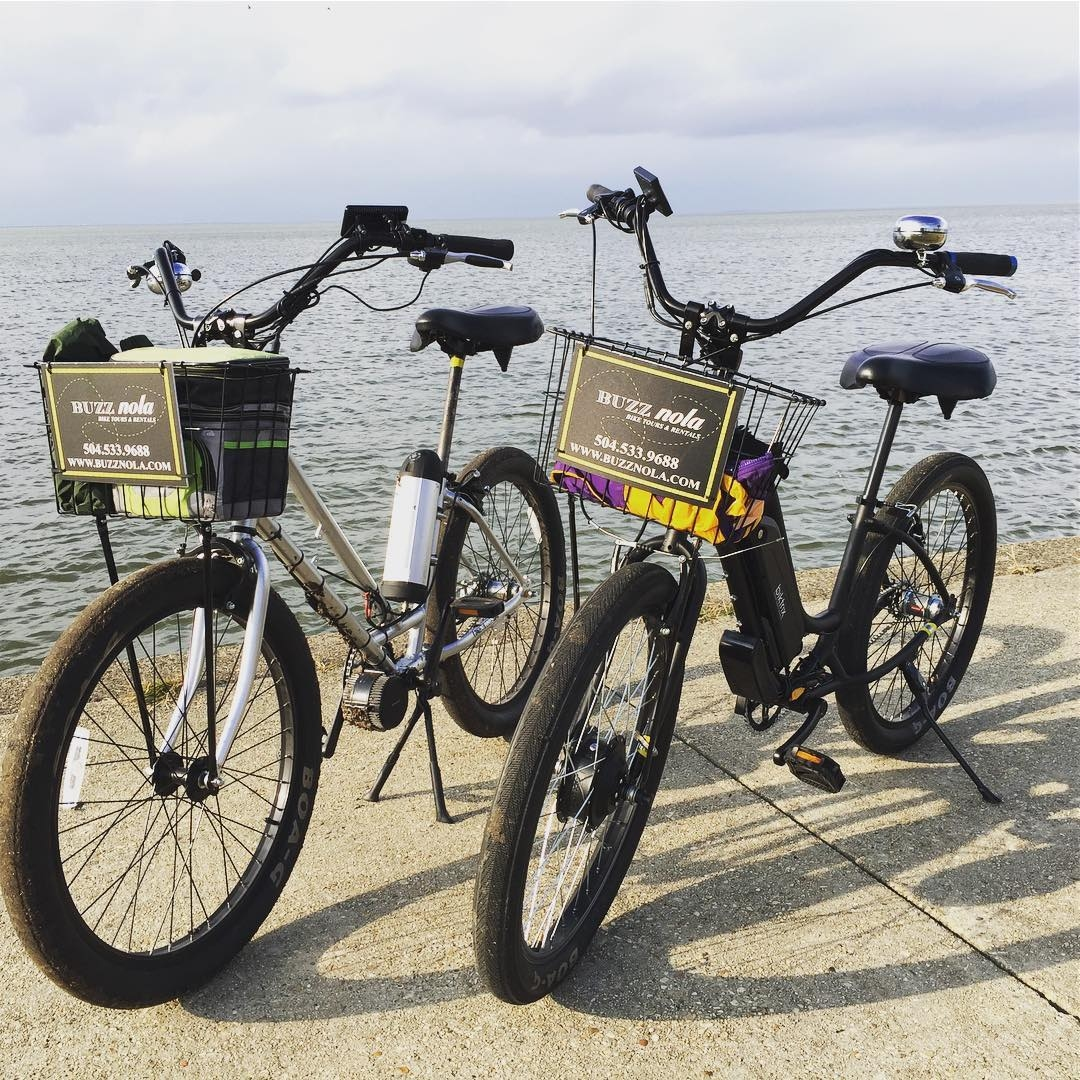 Two bicycles from Buzz NOLA Tours parked next to the Mississippi River