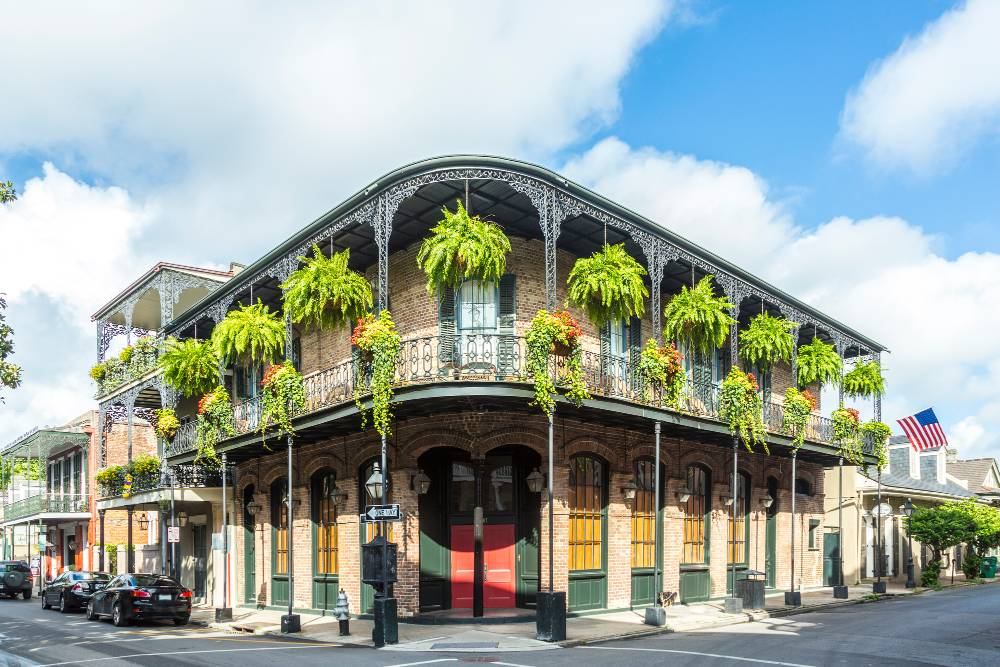 A two-story historic building in the French Quarter in New Orleans