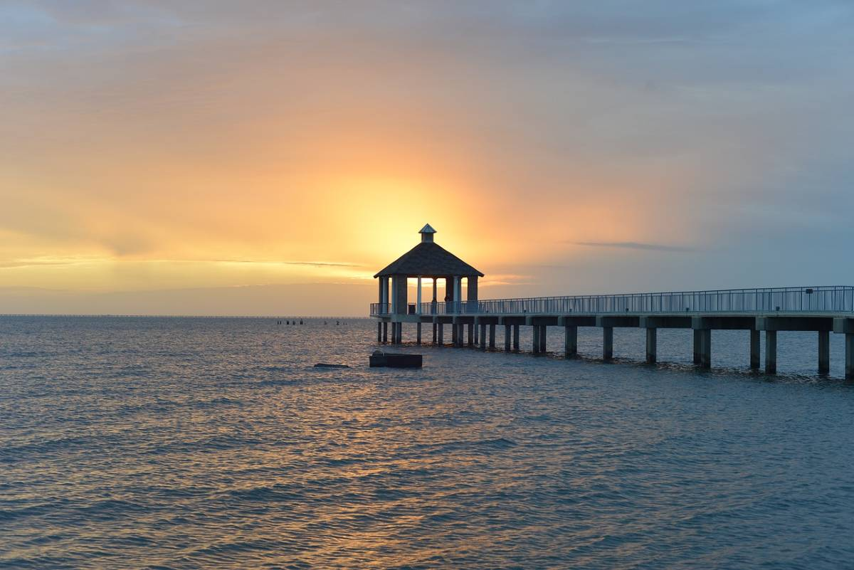 A gazebo overlook and pier on Lake Pontchartrain, one of the best places to enjoy water activities in New Orleans